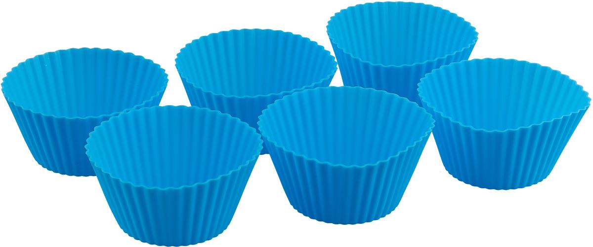 """Фото Форма для панкейков силиконовая """"Mayer & Boch"""", цвет: синий, 85 мл, 6 шт. 28057"""