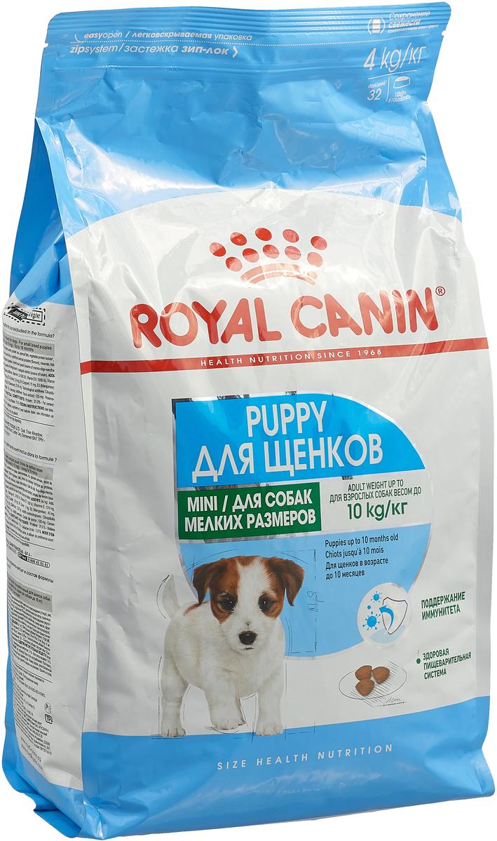 Корм сухой Royal Canin Mini Junior, для щенков мелких пород в возрасте от 2 до 10 месяцев, 4 кг. 305040 корм сухой диетический для кошек royal canin veterinary diet sensiblе 33