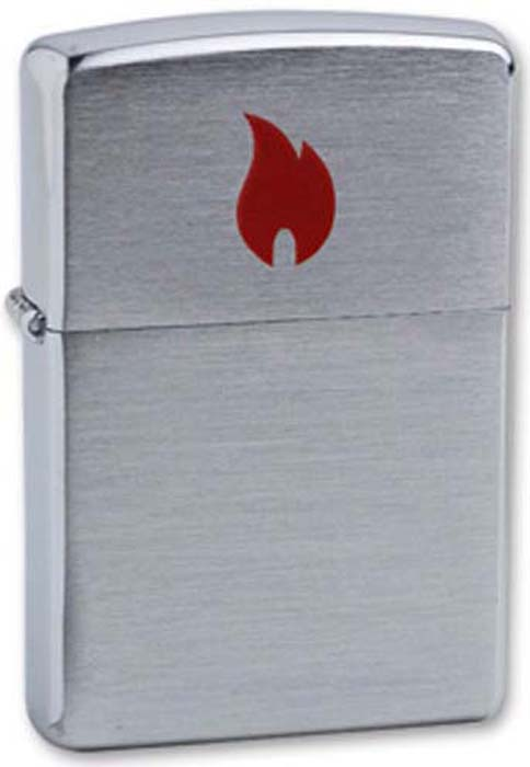 Зажигалка Zippo Red Flame, цвет: серебристый, 3,6 х 1,2 х 5,6 см. 200 RED FLAME