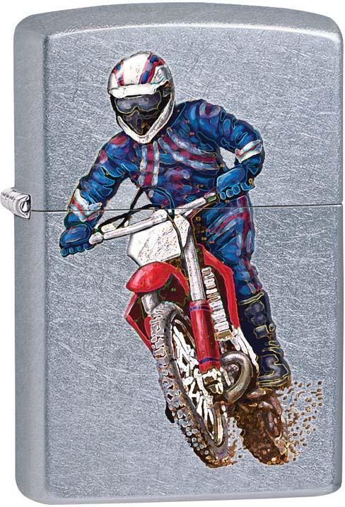 "Зажигалка Zippo ""Байкер"", цвет: серебристый, 3,6 х 1,2 х 5,6 см. 48568"