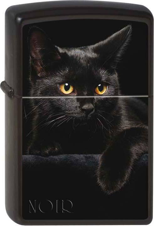 Зажигалка Zippo Черный кошка, цвет: черный, 3,6 х 1,2 х 5,6 см. 48589