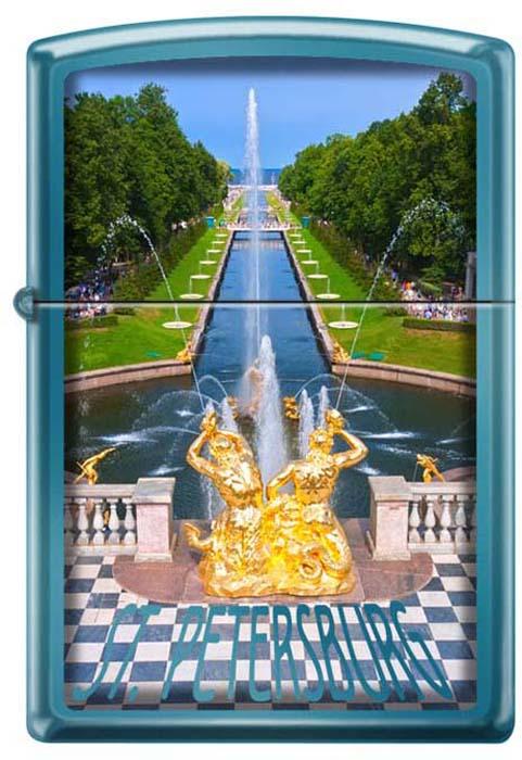Зажигалка Zippo Петергофский фонтан, цвет: синий, 3,6 х 1,2 х 5,6 см. 48913
