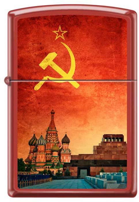 Зажигалка Zippo Красная Москва, цвет: красный, 3,6 х 1,2 х 5,6 см. 48924 zippo slim black