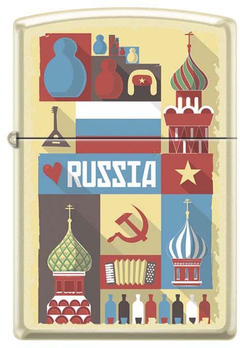 Зажигалка Zippo Открытка из России, цвет: светло-бежевый, 3,6 х 1,2 х 5,6 см. 48925