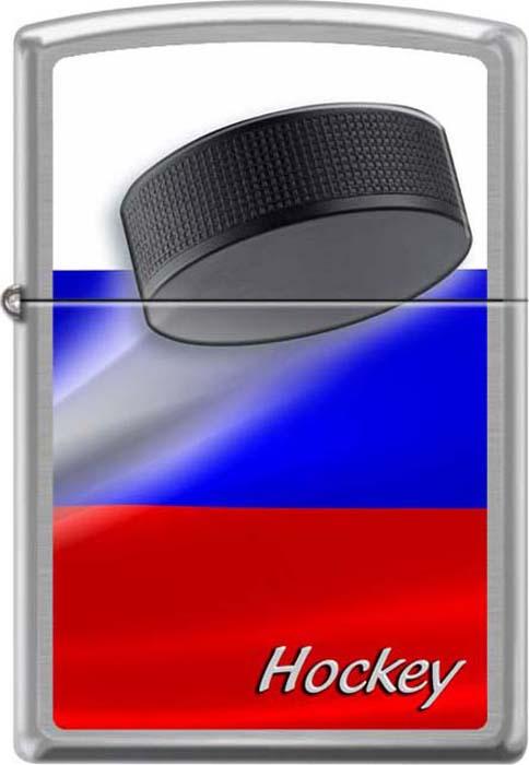 Зажигалка Zippo Российский хоккей, цвет: серебристый, 3,6 х 1,2 х 5,6 см. 48933