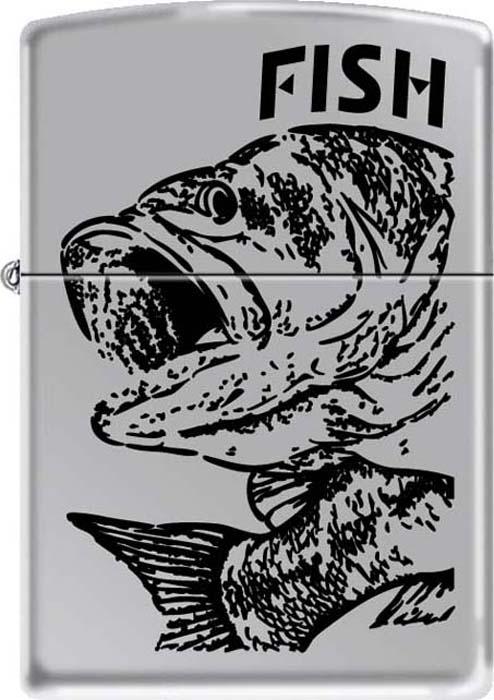 Зажигалка Zippo Черный окунь, цвет: серебристый, 3,6 х 1,2 х 5,6 см. 48935