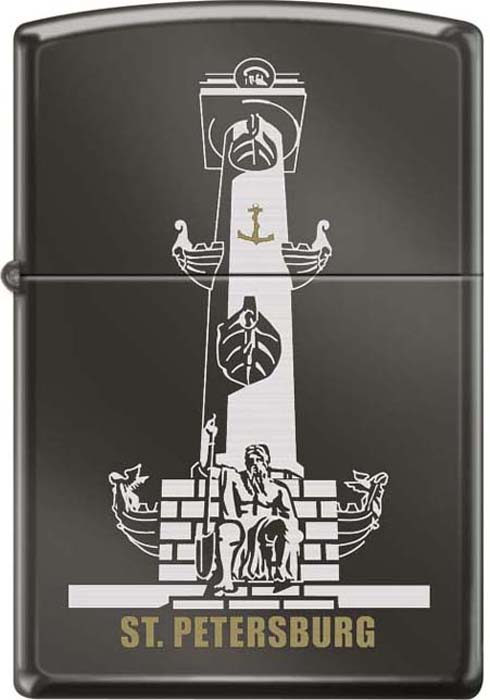 Зажигалка Zippo Ростральная колонна, цвет: черный, 3,6 х 1,2 х 5,6 см. 49568 зажигалка zippo ростральная колонна с покрытием black ice 150 rostral column