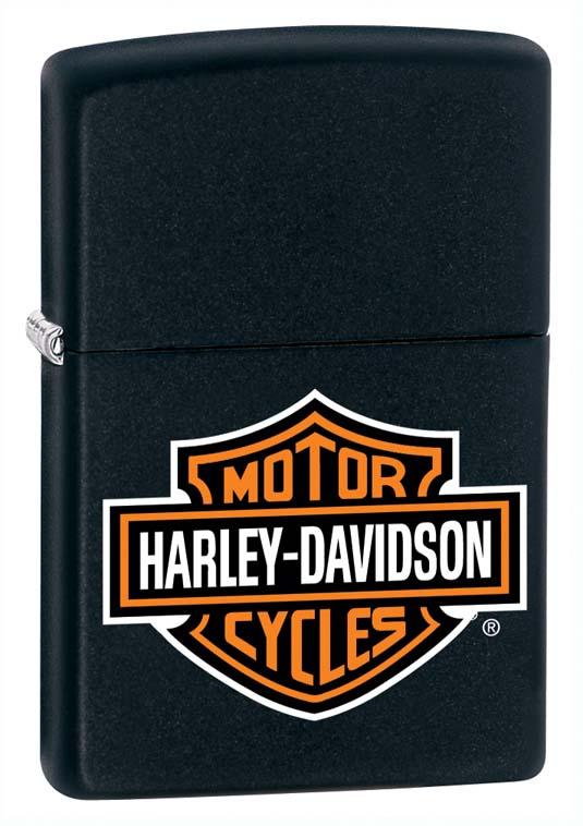 Зажигалка Zippo Harley-Davidson, с чехлом, цвет черный, 3,6 х 1,2 х 5,6 см. 53884