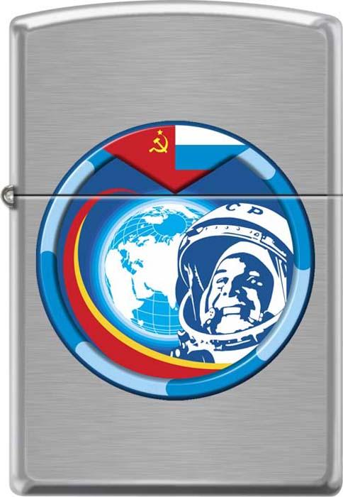 Зажигалка Zippo Гагарин, цвет: серебристый, 3,6 х 1,2 х 5,6 см. 54208