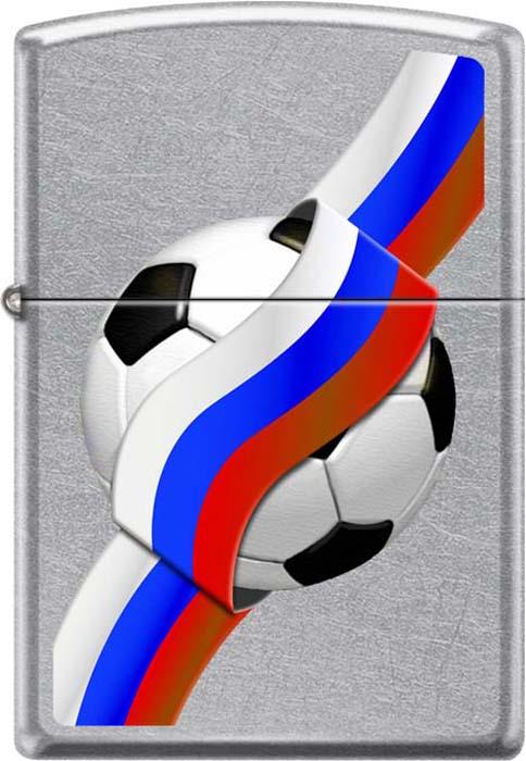 Зажигалка Zippo Российский футбол, цвет: серебристый, 3,6 х 1,2 х 5,6 см. 54209