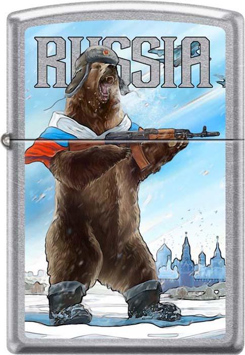 "Зажигалка Zippo ""Русский медведь"", цвет: серебристый, 3,6 х 1,2 х 5,6 см. 54210"