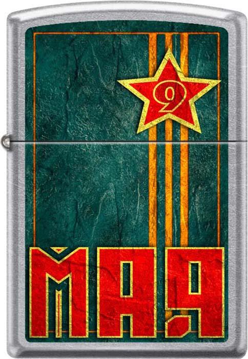 Зажигалка Zippo 9 мая, цвет: серебристый, 3,6 х 1,2 х 5,6 см. 54213