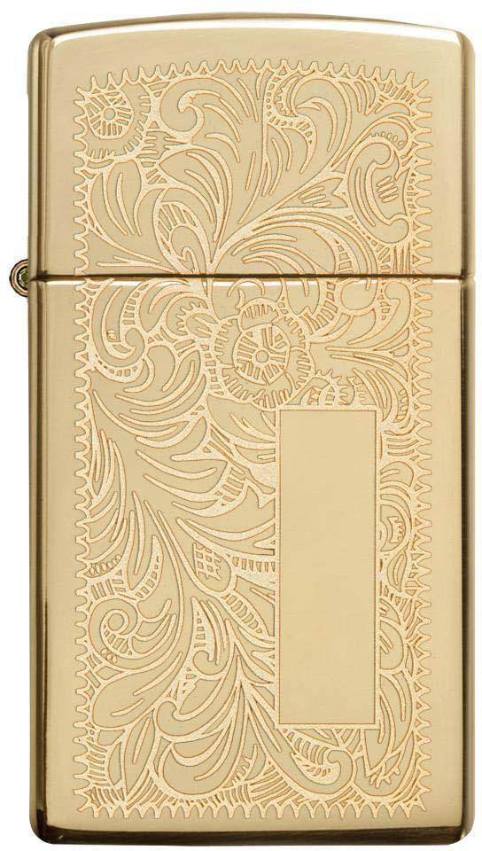 Зажигалка Zippo Slim Venetian, цвет: золотистый, 3 х 1 х 5,5 см. 618 зажигалки zippo z 1652b