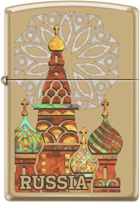 Зажигалка Zippo Россия, цвет: золотистый, 3,6 х 1,2 х 5,6 см. 54206