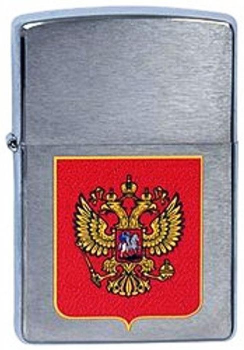 Зажигалка Zippo Герб России, цвет: серебристый, 3,6 х 1,2 х 5,6 см. 39772