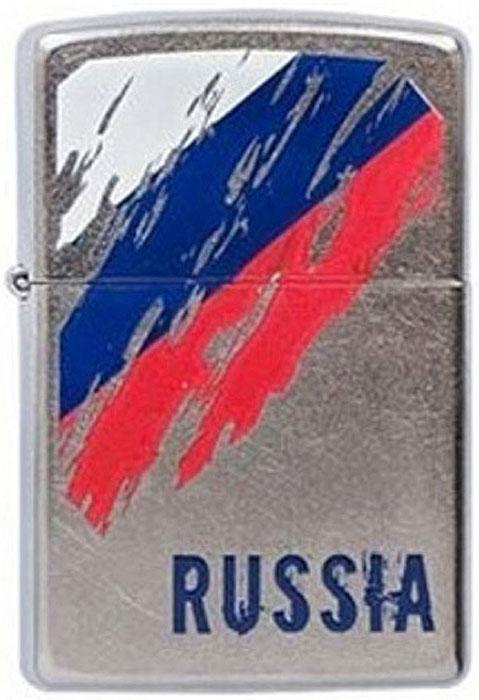 Зажигалка Zippo Russia Flag, цвет: серебристый, 3,6 х 1,2 х 5,6 см. 39774