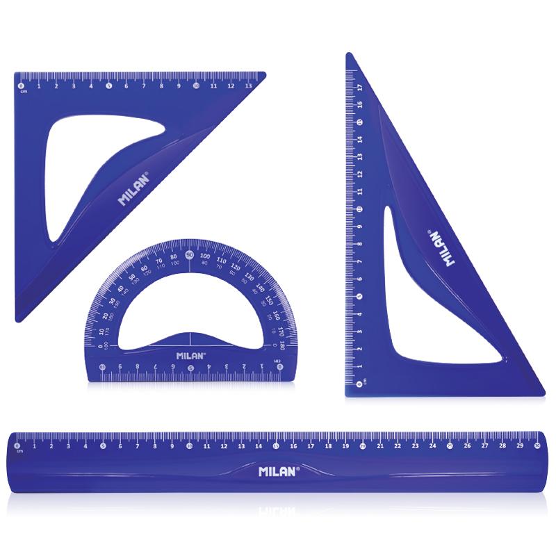 Milan Набор чертежный большой Flex & resistant цвет синий треугольник 30 60 90 18 см centrum