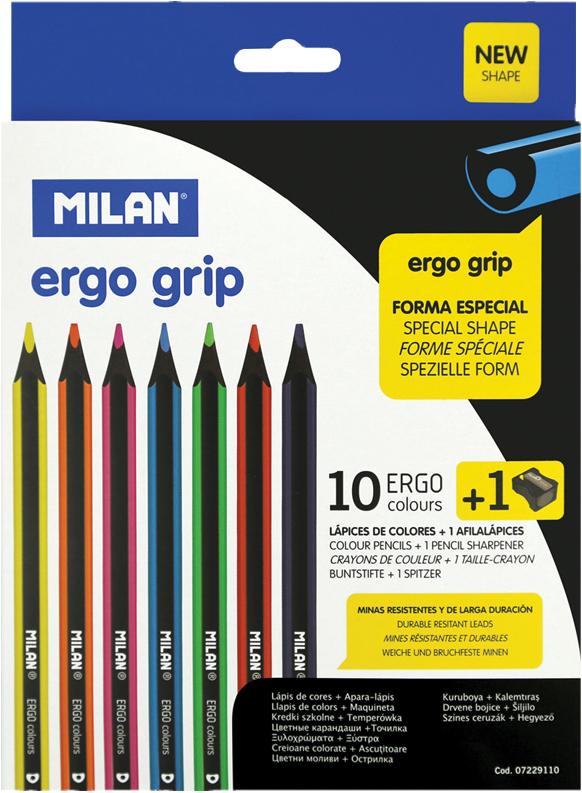 Milan Карандаши пластиковые Ergo Grip 10 цветов с точилкой карандаши цветные 12 цветов мonster high длинные в металлическом тубксе с точилкой 85046