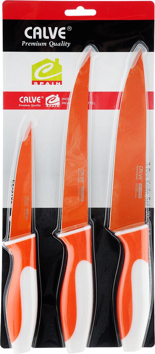 Набор ножей Calve, цвет: оранжевый, белый, 3 предмета. CL-3106 набор для специй queen ruby цвет красный 2 предмета qr 8794