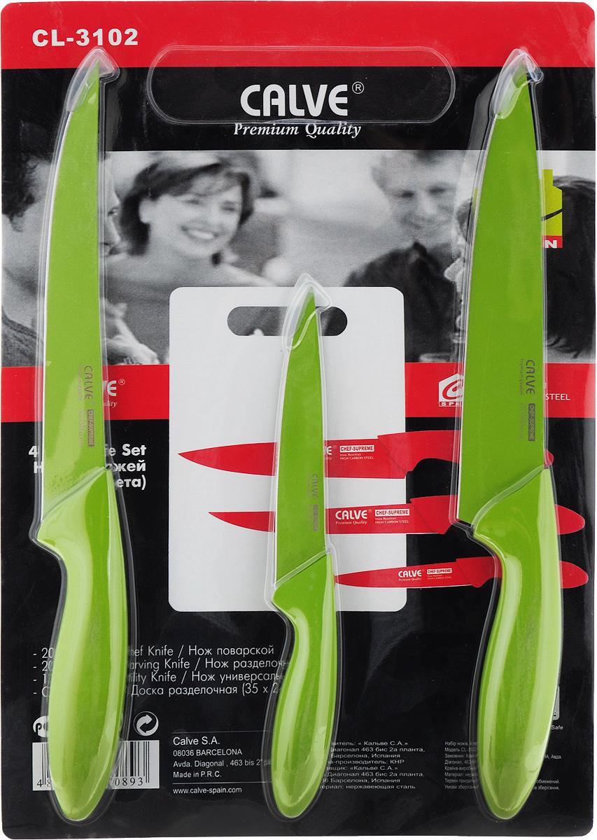 Набор ножей Calve, с разделочной доской, цвет: зеленый, 4 предмета. CL-3102 набор для специй queen ruby цвет красный 2 предмета qr 8794