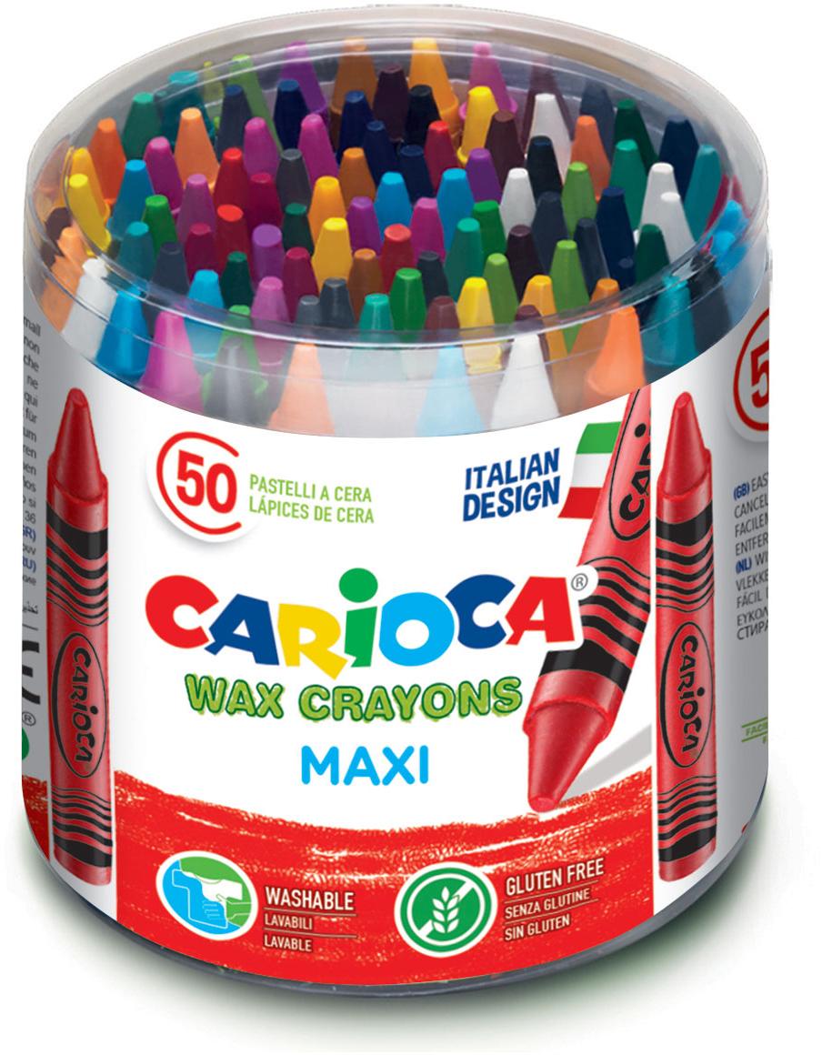 Carioca Набор крупных восковых мелков Wax Crayons Maxi 50 шт набор восковых мелков 12 цветов wax crayons 42365