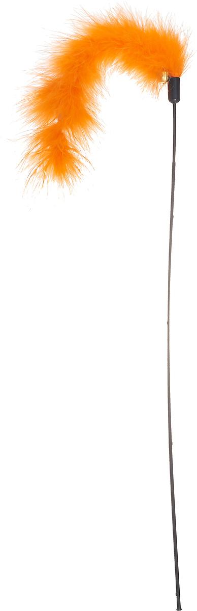 Игрушка-дразнилка для кошек GLG Султан, цвет: оранжевый, длина 45 см игрушка дразнилка для кошек glg страус на резинке цвет коричневый 4 см