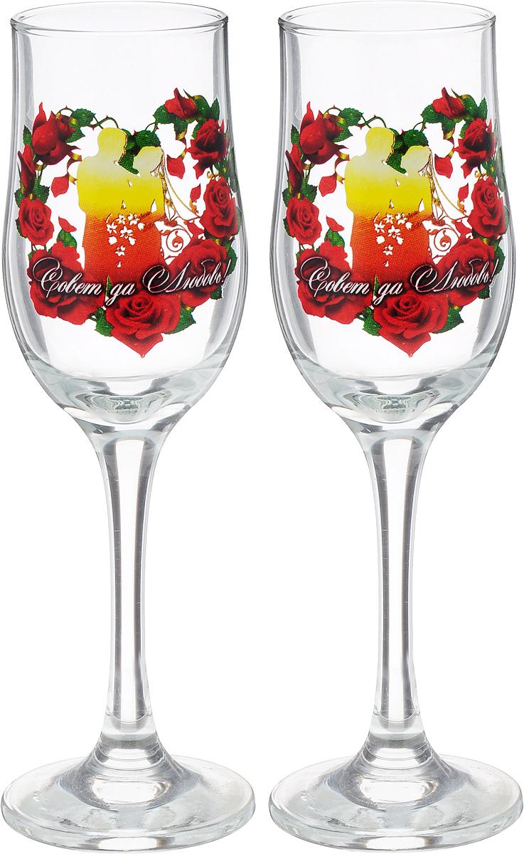 Набор бокалов для шампанского Декостек Свадебный. Совет да Любовь!, 200 мл, 2 шт. 1599282 набор стопок декостек ода орел 50 мл 1599342
