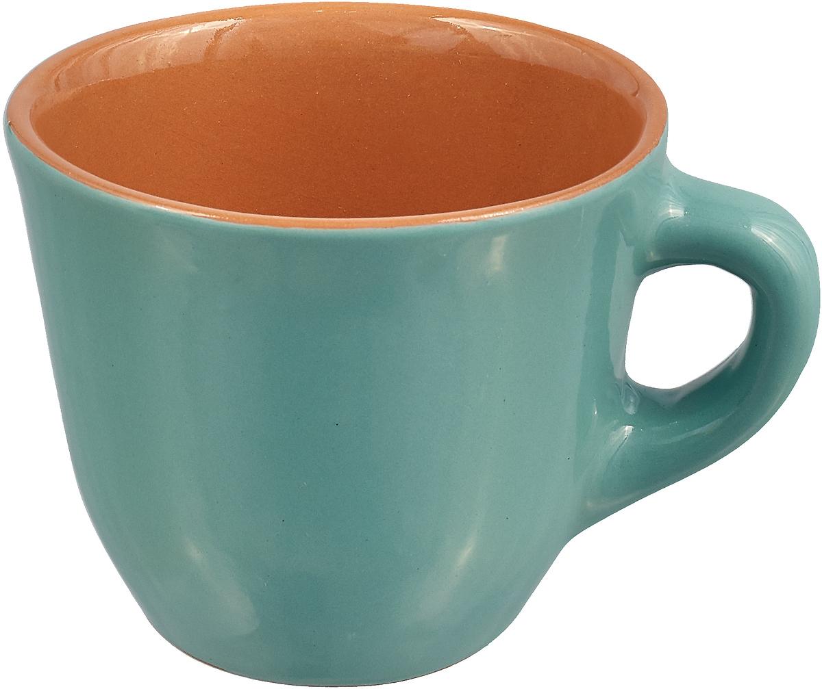 Чашка чайная Борисовская керамика Радуга, цвет: бирюзовый, оранжевый, 300 мл чашка чайная борисовская керамика пион цвет оранжевый 300 мл