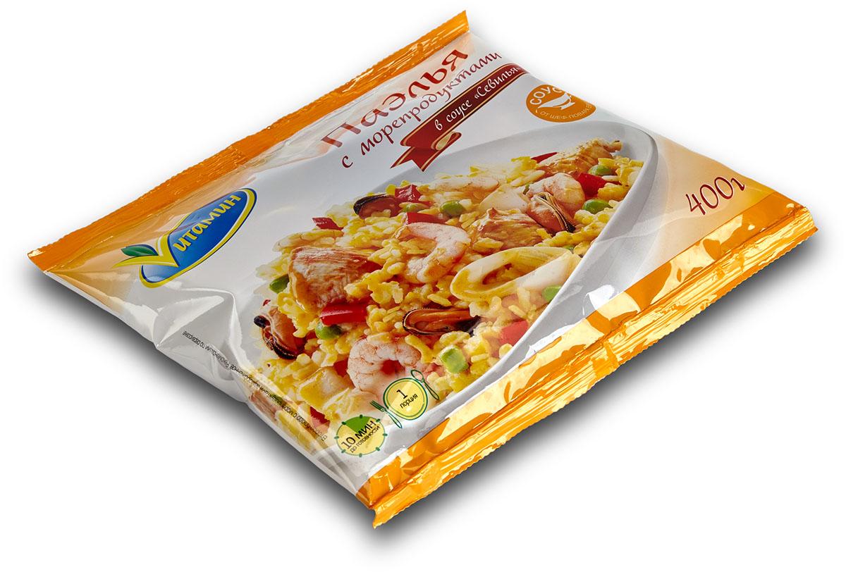 Паэлья с морепродуктами в соусе Севилья Vитамин, 400 г брокколи капуста vитамин 400 г