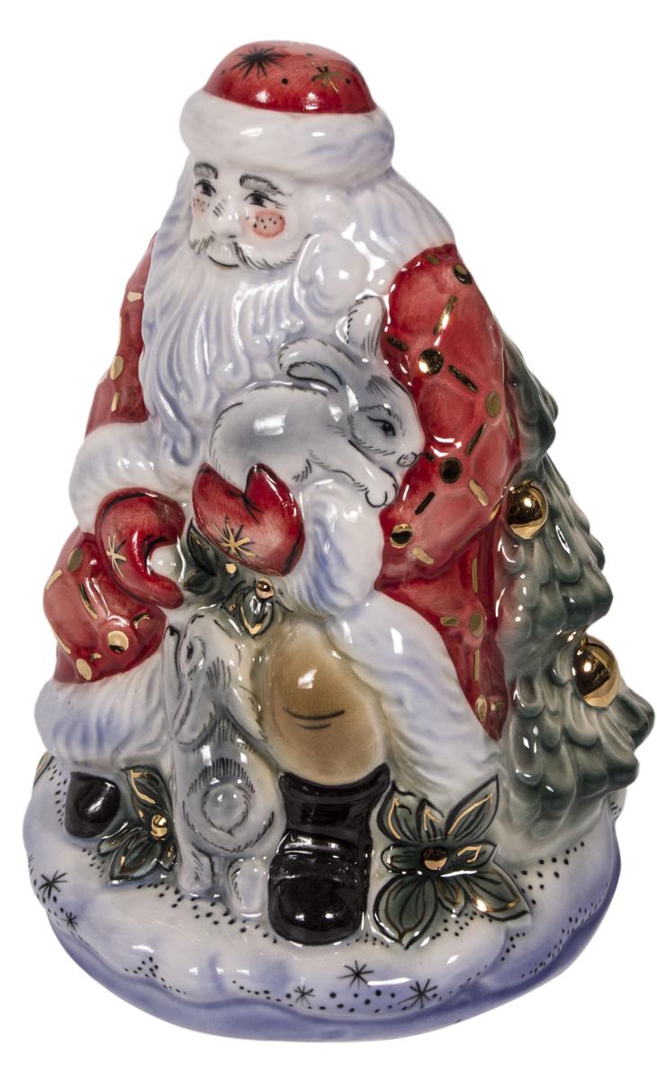 Скульптура АМК Дед Мороз, подглазурная роспись в золоте Гжель, цвет: красный скульптура собака гжель 8530