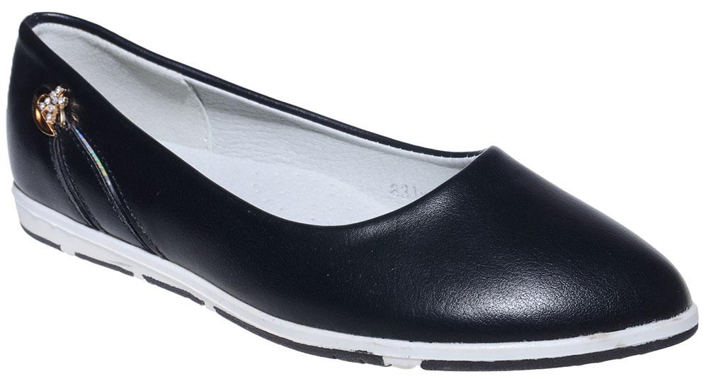 Балетки для девочки Чиполлино, цвет: черный. 831-4A. Размер 34