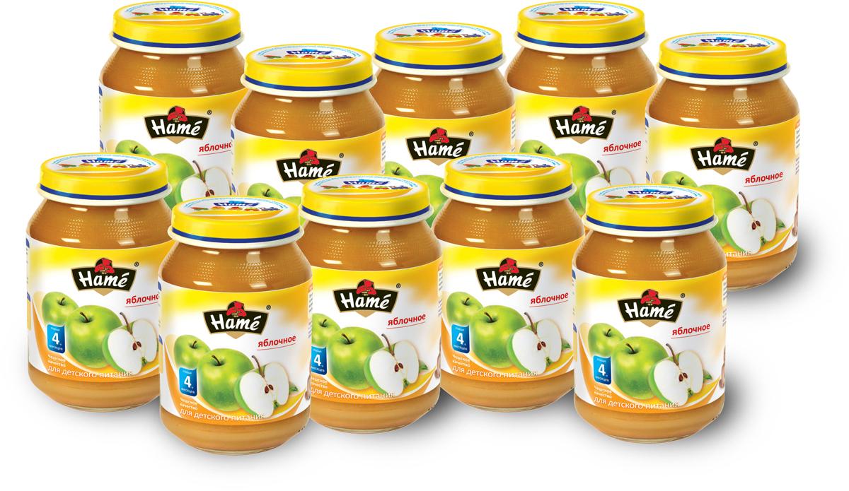 Hame пюре яблоко фруктовое, 10 шт по 190 г hame пюре абрикос с творогом фруктовое 10 шт по 190 г