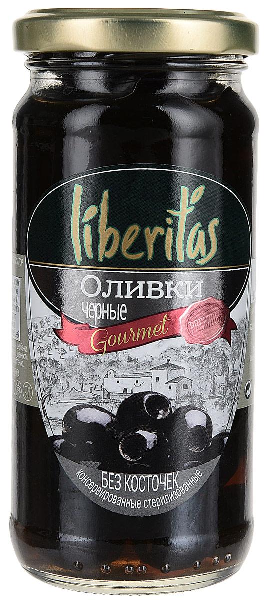 Liberitas Оливки черные без косточки, 240 г iberica оливки с лимоном 300 г