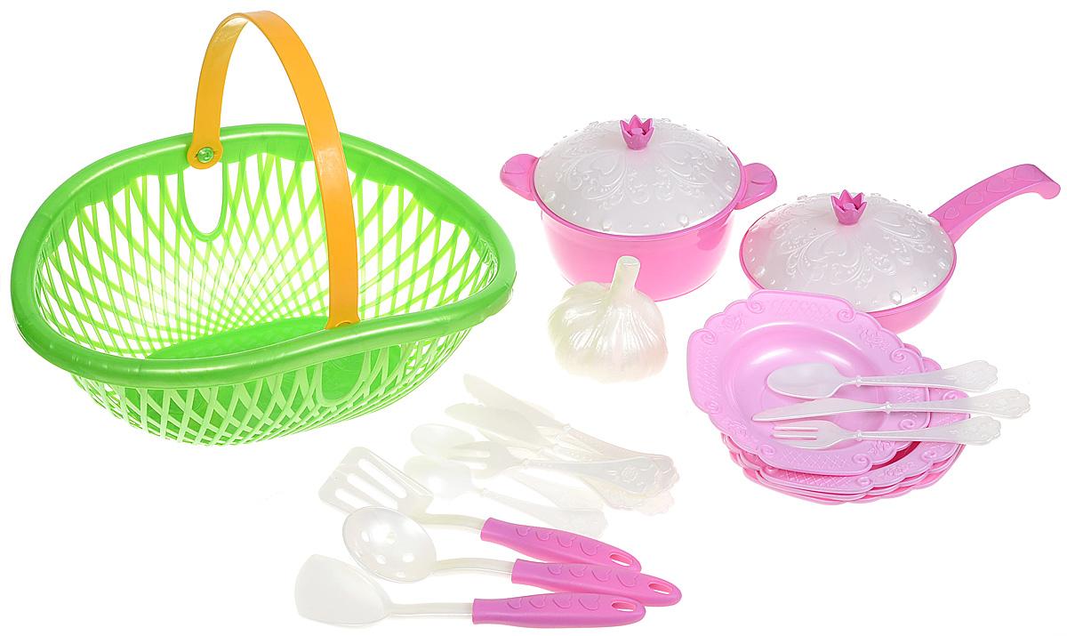 Нордпласт Игрушечный набор посуды Кухонный сервиз Волшебная хозяюшка цвет зеленый розовый