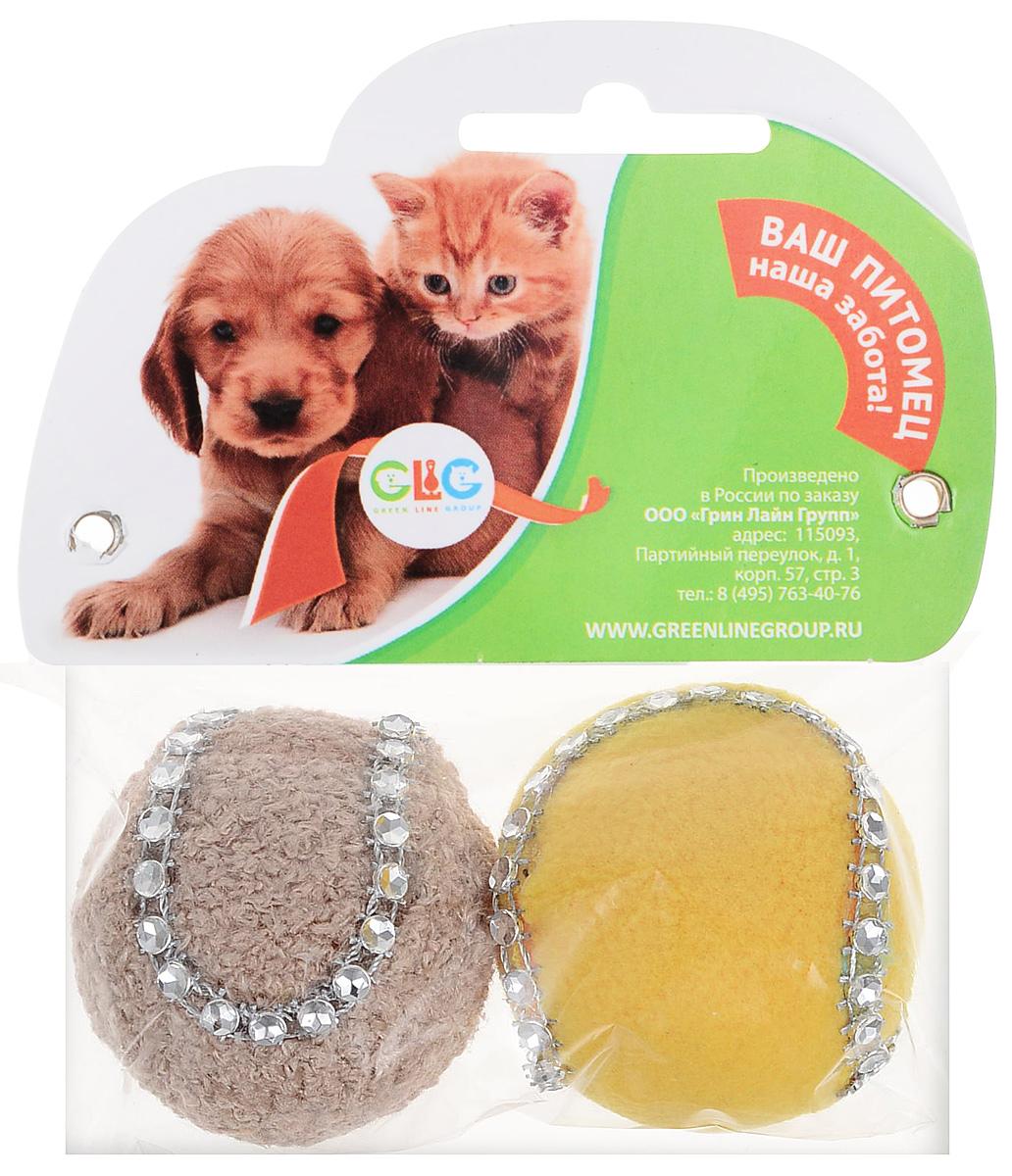 Игрушка для кошек GLG Мяч-погремушка, цвет: зеленый, желтый, 4 см, 2 шт игрушка для кошек i p t s мяч погремушка с меховым хвостом в ассортименте
