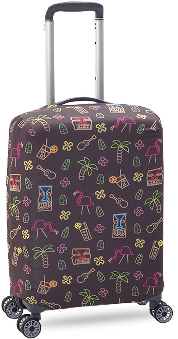 Чехол на чемодан KonAle Фламинго, размер S (высота чемодана: до 55 см)