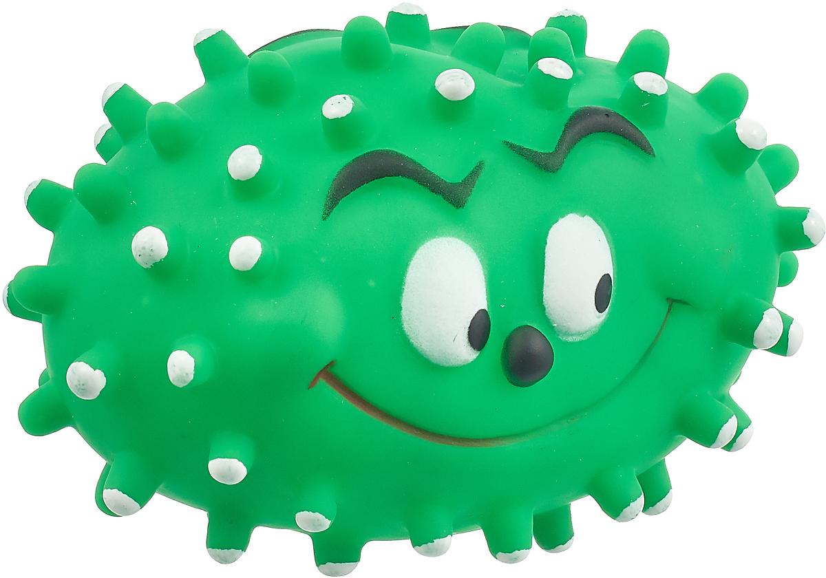 Игрушка для собак Уют Мячик с рожицей и шипами, овальный, цвет: зеленый, 13,5 x 8,5 см игрушка для собак уют сыр с мышкой 11 x 5 см