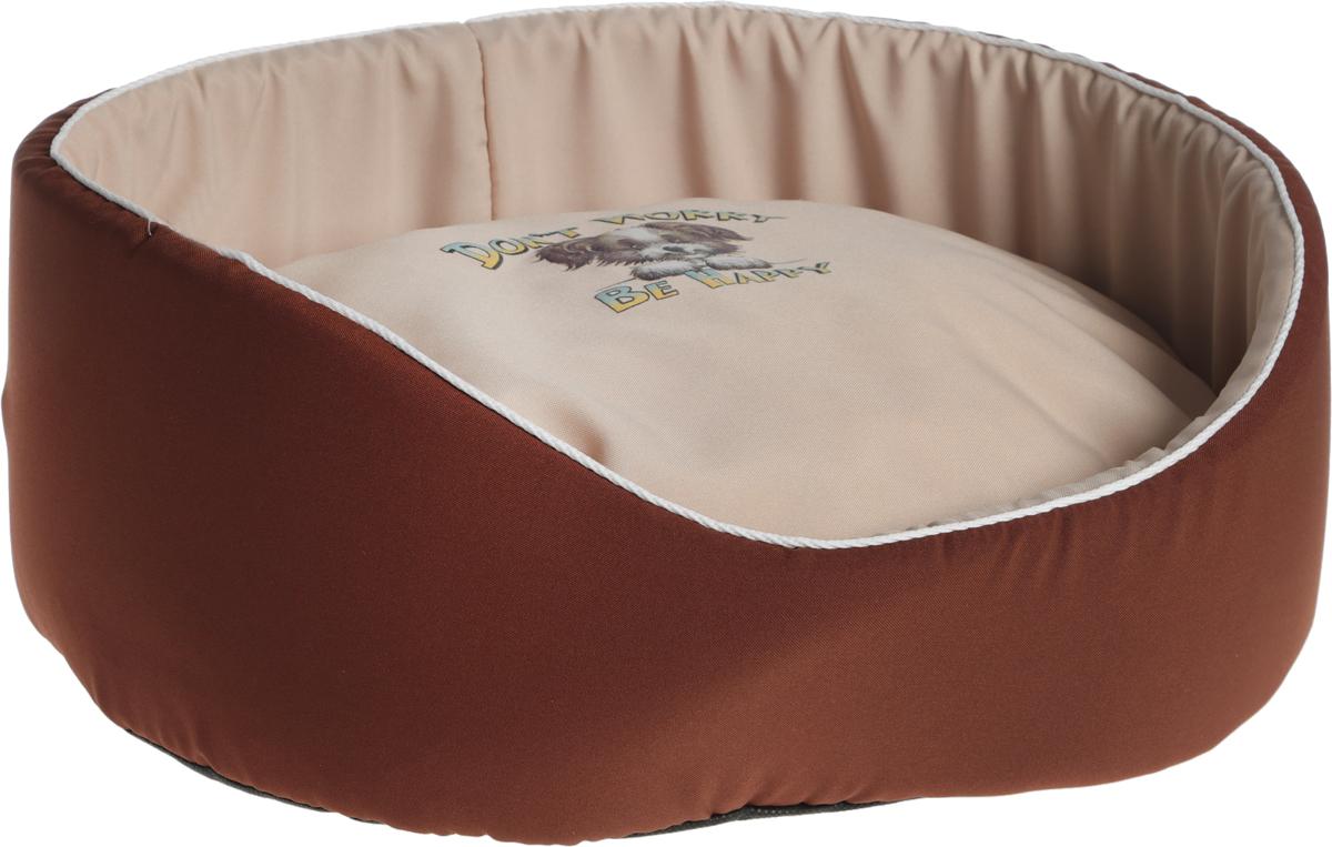 Лежак для животных GLG Картинка, цвет: светло-коричневый, бежевый, 48 х 35 х 17 см корзина для хранения violet ротанг цвет светло коричневый 54 х 35 х 26 см
