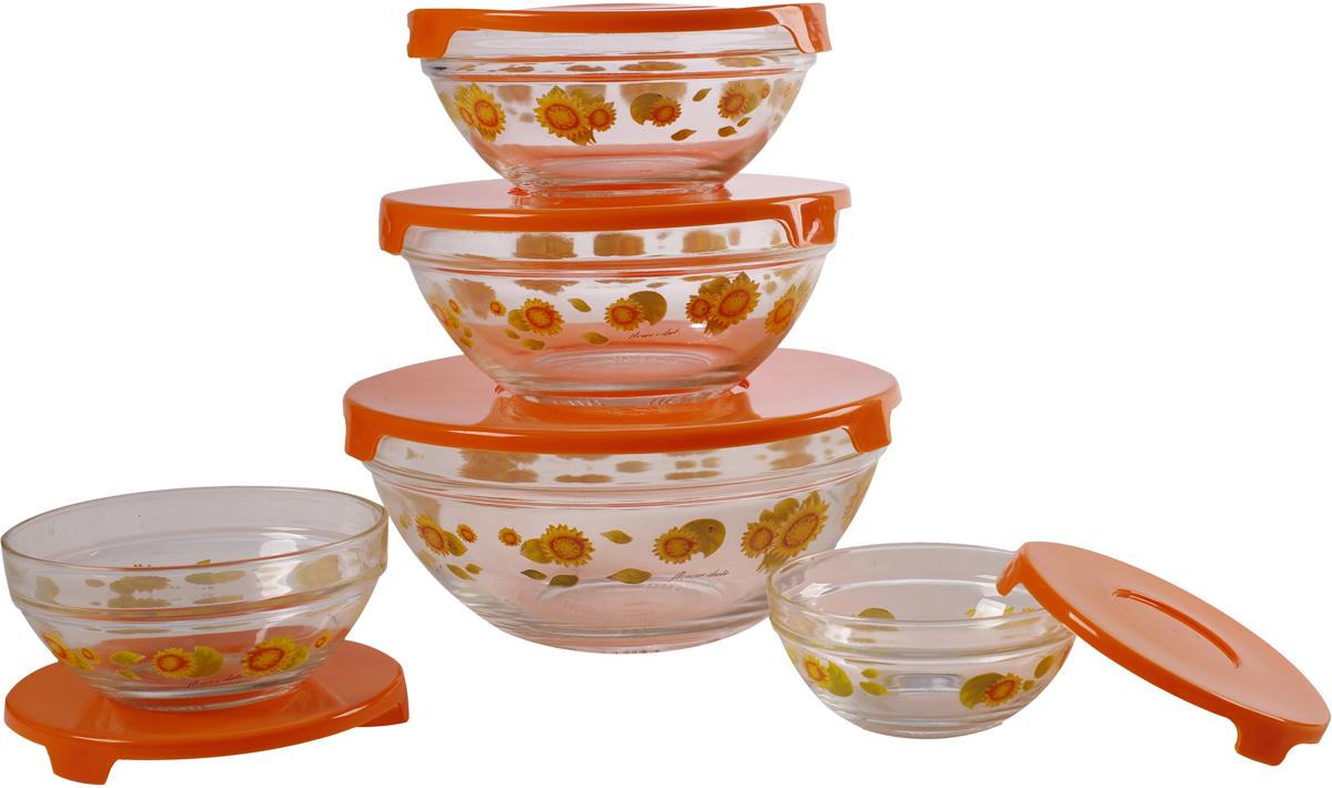 Набор стеклянных салатников Irit, с крышками, цвет: прозрачный, желтый, 5 шт набор форм для заливного home queen с крышками 3 шт