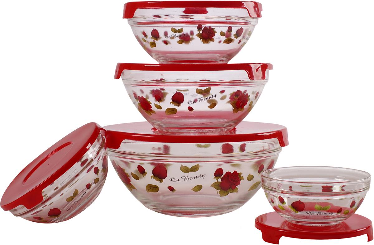Набор стеклянных салатников Irit, с крышками, цвет: прозрачный, красный, 5 шт набор салатников olaff с крышками 5 шт ax 5sb r 02