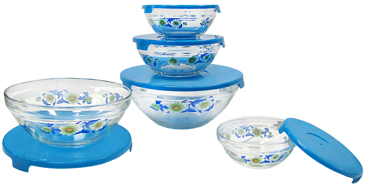 Набор стеклянных салатников Irit, с крышками, цвет: прозрачный, голубой, 5 шт набор форм для заливного home queen с крышками 3 шт