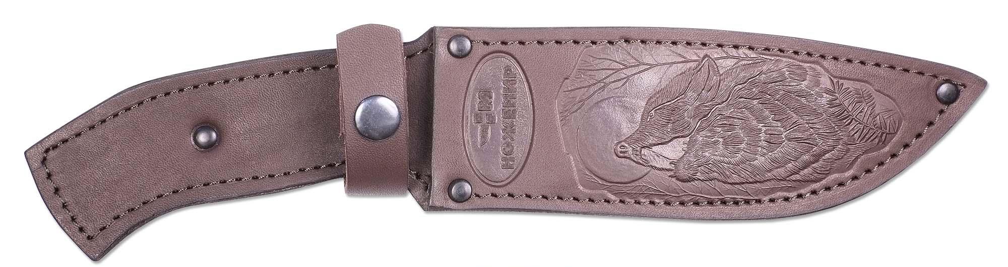 Чехол для нескладного ножа Ножемир, цвет: коричневый. Чехол №12(к)