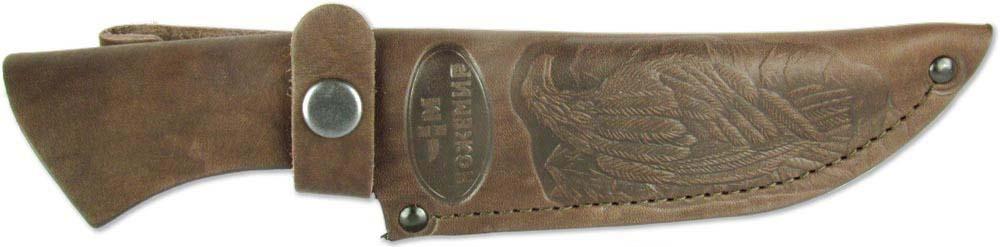 """Чехол """"Ножемир"""" - необходимое средство для надежного хранения и безопасной транспортировки ножа. Выполнен из натуральной кожи. Изделие можно повесить на ремень при помощи специальной петли. Длина клинка: 135-145 мм.Ширина клинка: 40 мм."""