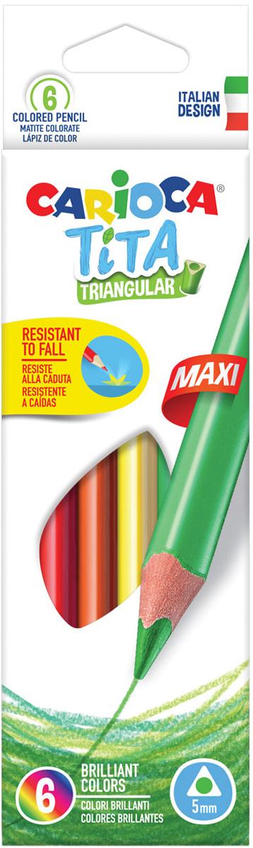 Carioca Набор крупных цветных карандашей Tita Maxi 6 цветов bic набор цветных карандашей aquacouleur 12 цветов