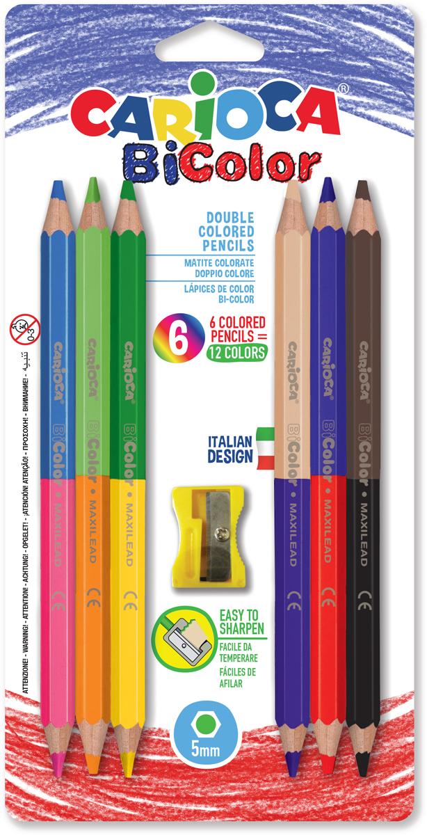 Carioca Набор цветных двусторонних карандашей + точилка Bicolor 12 цветов 6 шт карандаши восковые мелки пастель carioca набор карандашей 36 цветов точилка