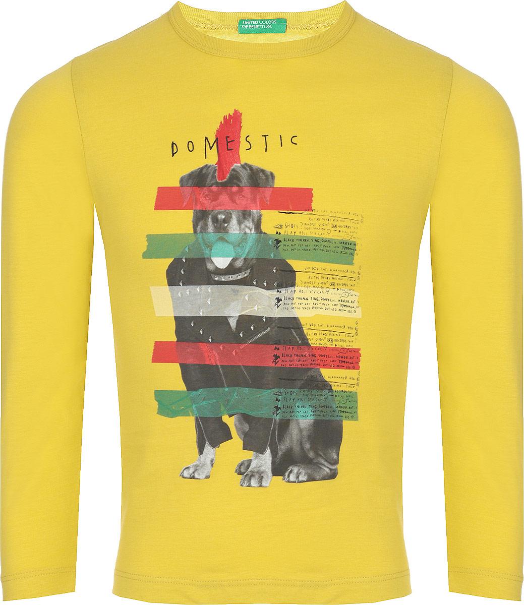 Футболка с длинным рукавом для мальчика United Colors of Benetton, цвет: желтый. 3I1XC1R6P_36H. Размер 100