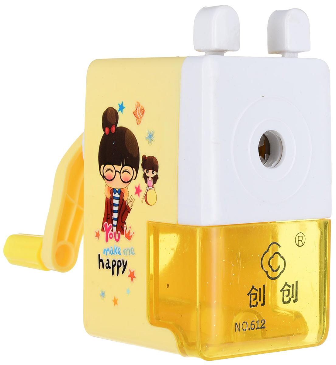 Точилка механическая с контейнером Классика с рисунком цвет белый желтый точилка пластиковая maped stop signal одно отверстие с контейнером
