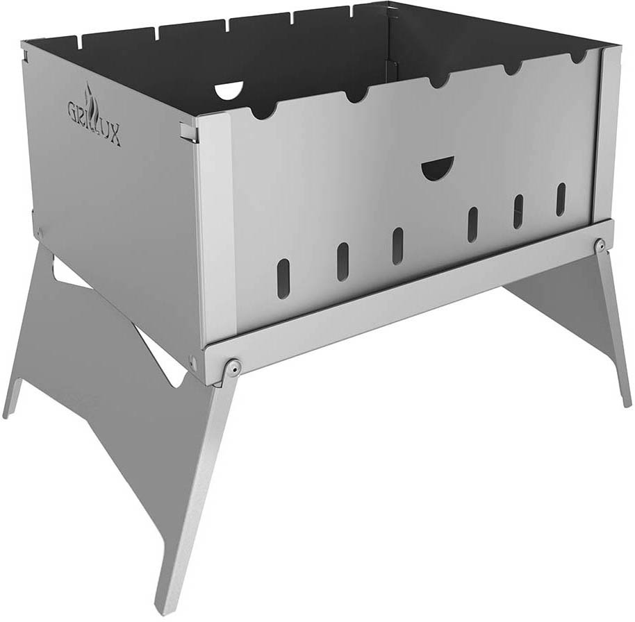 """Складной мангал-трансформер Grillux """"Optimus"""" предназначен для термической обработки пищи на открытом воздухе. Идеально подходит для приготовления продуктов на углях. Мангал-трансформер изготовлен из стали. Благодаря небольшому размеру его всегда можно брать с собой на дачу или пикник.    Легко собирается и разбирается. Такой мангал с необычным дизайном может стать отличным подарком.   Размер мангала (с учетом высоты ножек): 32 х 25 х 25 см.   Размер (в сложенном виде): 32 х 25 х 2,7 см. Толщина стенок: 1,5 мм. Глубина: 12,5 см."""