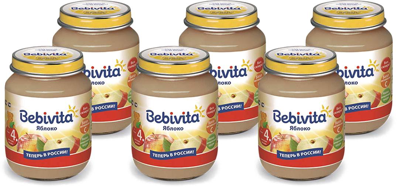 Bebivita пюре яблоко с витамином С, с 4 месяцев, 6 шт по 100 г пюре спелёнок яблоко груша слива со сливками с 6 мес 125 г
