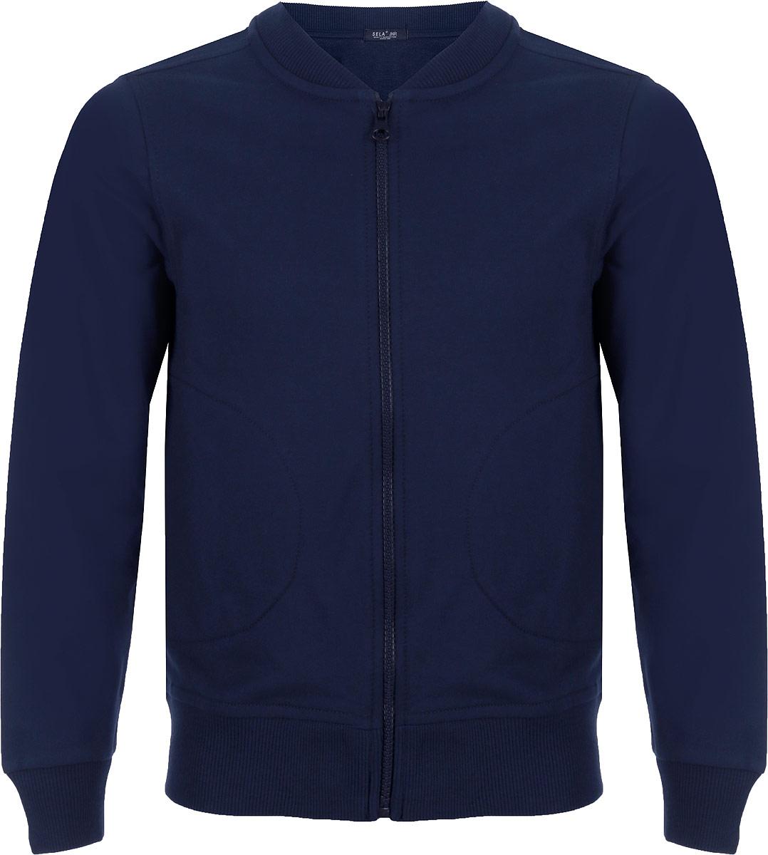 Куртка для мальчика Sela, цвет: темно-синий. Stc-813/182-8320. Размер 140 лонгслив lovedo для мальчика цвет синий темно синий